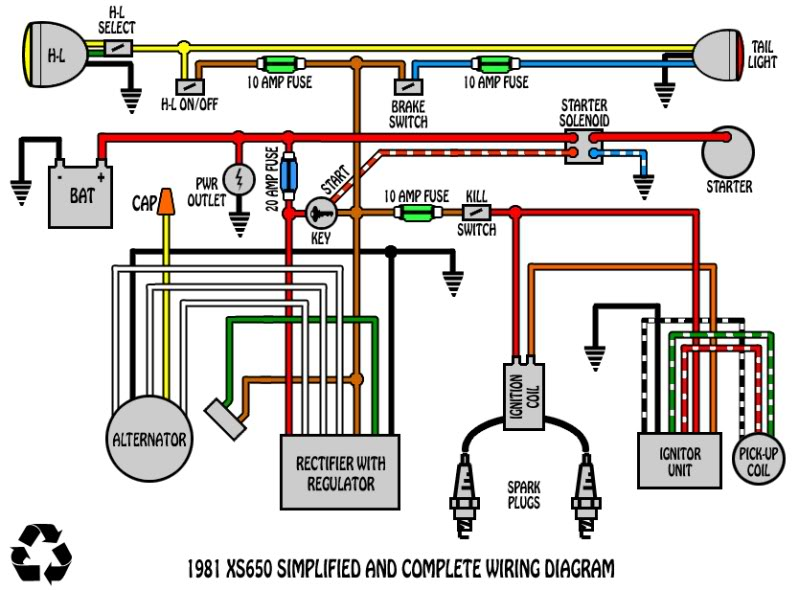 xs1100 chopper wiring diagram loncin 50cc mini chopper wiring diagram odd running when power to brush? | yamaha xs650 forum #8